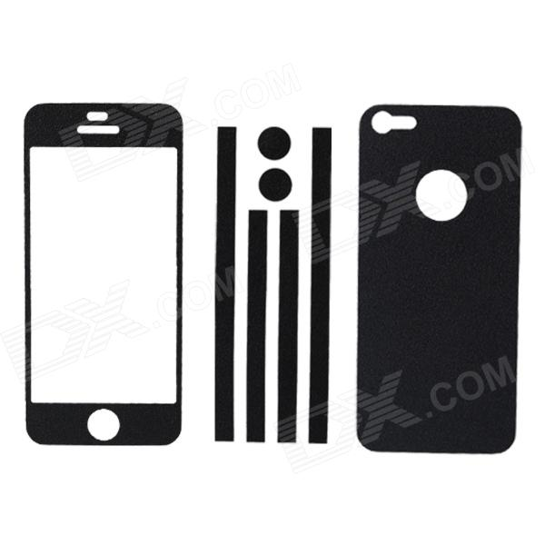 Elonbo Stylish Decorative Full Front Screen Protector + Back Skin Sticker Set for Iphone 5 - Black