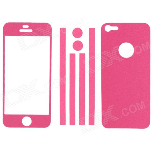 Elonbo Stylish Decorative Full Front Screen Protector + Back Skin Sticker for Iphone 5 - Deep Pink