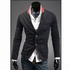 Stylish Men's Colored Collar Suit - Black + Red (Size-L)