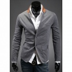 Stylish Men's Colored Collar Suit - Grey (Size-L)