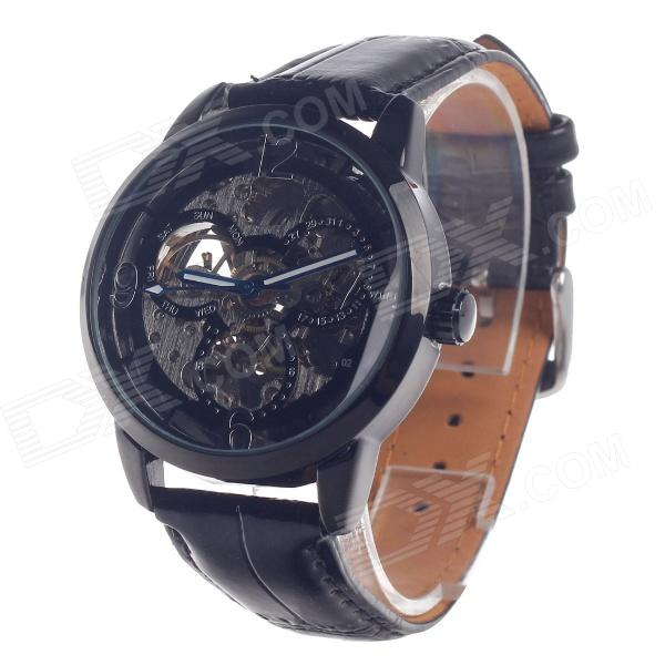 8145 Fashionable PU Leather Band Stainless Steel Men's Automatic Machine Analog Wrist Watch - Black