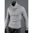 Stylish Men's Rabbit Plush High Collar Knit Shirt - Gray (Size-L)