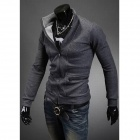 Fashionable Men's Hit Color Zipper Coat - Gray (Size-L)