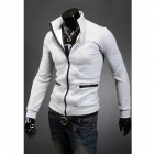 Fashionable Men's Hit Color Zipper Coat - Light Gray (Size-L)