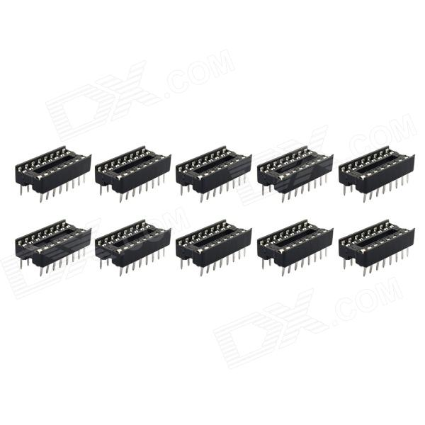 Jtron 16P Integrated Circuit Socket / Socket MCU - Black (10 PCS)
