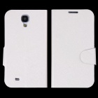 Silk Pattern Protective PU Leather Case Cover Stand for Samsung Galaxy S4 i9500 - White