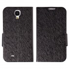 Silk Pattern Protective PU Leather Case Cover Stand for Samsung Galaxy S4 i9500 - Black