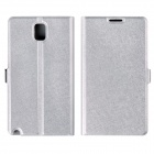 Silk Pattern Protective PU Leather Case Cover Stand for Samsung Galaxy Note 3 N9000 - White