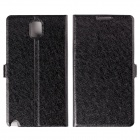 Silk Pattern Protective PU Leather Case Cover Stand for Samsung Galaxy Note 3 N9000 - Black