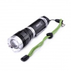 BORUiT Z20 CREE XM-L T6 5-Mode 600lm Retractable Zooming Flashlight w/ Strap - Black (18650/26650)