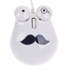 Cute Chaplin Style 1000dpi USB Wired 3D Optical Mouse w / Mouse Pad - White + Black (140cm-Cable)