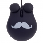 Cute Chaplin Style 1000dpi USB Wired 3D Optical Mouse w/ Mouse Pad - Black + White (140cm-Cable)