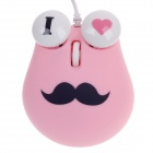 Cute Chaplin Style 1000dpi USB Wired 3D Optical Mouse w / Mouse Pad - Pink + Black + White