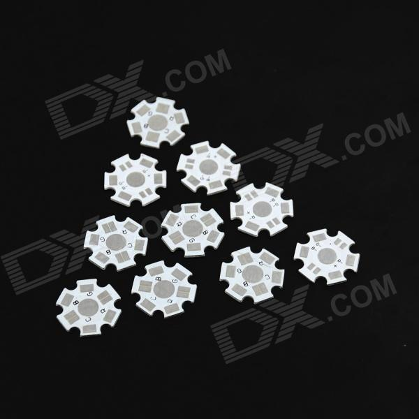 20mm 1W/3W RGB Full Lantern Beads Aluminum Plate - Silver + White (10 PCS)