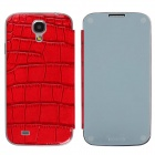 Stylish Mirror + Crocodile Pattern Flip-open Protective PU Leather Case for Samsung Galaxy S4 - Red
