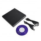 HH-091 Slim Portable USB 2.0 External Optical CD-ROM Drive - Black
