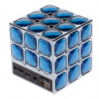 Stylish Portable Magic Cube Style PC / MP3 / MP4 Mini Speaker w/ TF / USB / AUX Port - Blue