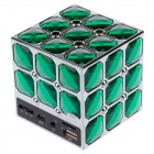 Stylish Portable Magic Cube Style PC / MP3 / MP4 Mini Speaker w/ TF / USB / AUX Port - Green