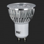 JRLED JR-LED-GU10-3W GU10 3W 230lm 6500K 3 LED White Light Spotlight - White + Silver (AC 220V)