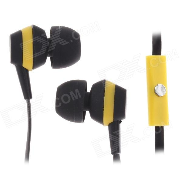 Sibyl M-29 Stylish Stereo In-Ear Earphones w/ Microphone - Black + Yellow  (3.5mm Plug / 112cm )