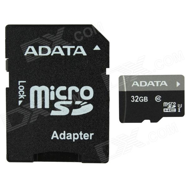 ADATA MicroSDHC UHS-I TF Card w/ SD Adapter - Black (32GB / Class 10) doogee dgsd8 microsdhc tf memory card for cellphones black 8gb class 6