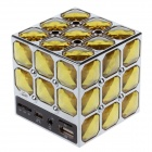 Stylish Portable Magic Cube Style PC / MP3 / MP4 Mini Speaker w/ TF / USB / AUX Port - Yellow