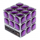 Stylish Portable Magic Cube Style PC / MP3 / MP4 Mini Speaker w/ TF / USB / AUX Port - Purple