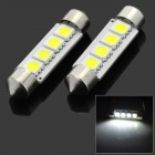 1042CB-4W 3W 17lm 6500K 4-5050 SMD LED White 41mm Festoon Decorative Lamps - Yellow + Silver (2 PCS)