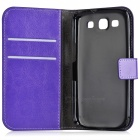 A-556 Protective PU Leather Case w/ Card Holder Slots for Samsung Galaxy S3 i9300 - Purple
