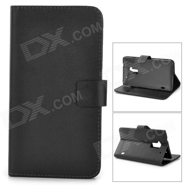 A-556 Protective PU Leather Case for HTC One Max T6 - Black protective matte frosted back case for htc one x s720e black