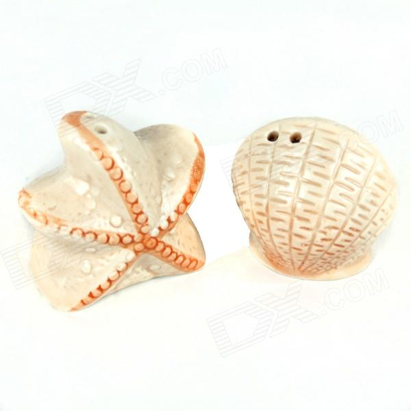 Creative Starfish + Shell Style Spice Jars - Beige + White (2 PCS) zoobles twobles starfish