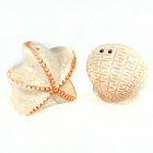 Creative Starfish + Shell Style Spice Jars - Beige + White (2 PCS)