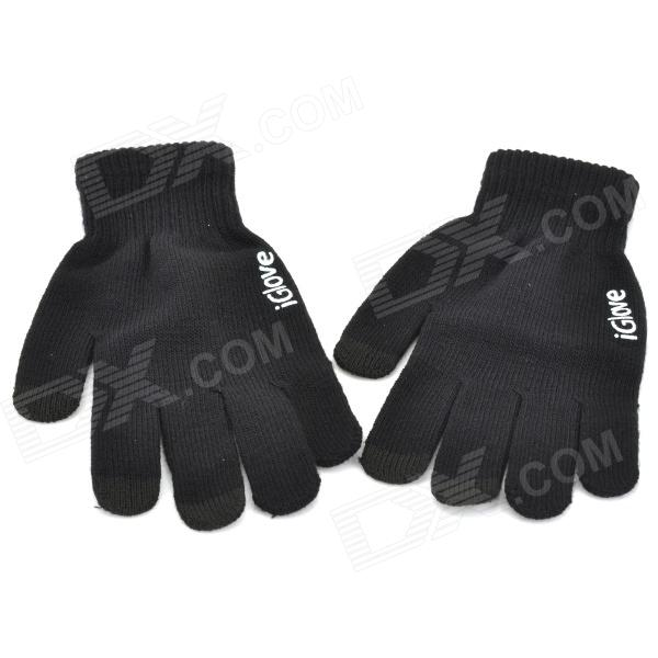 Stylish Capacitive Touch Screen Touching Hand Warm Gloves - Black (Pair)