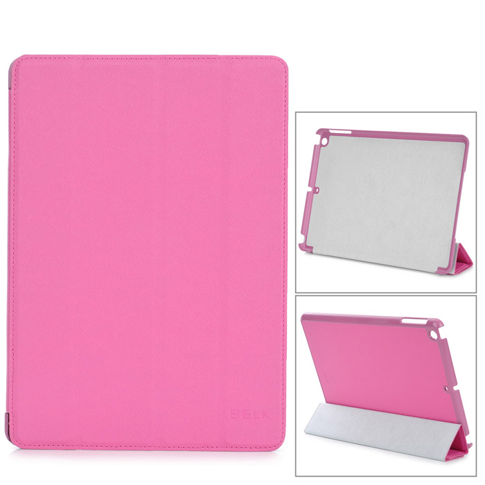 Stylish Protective PU Leather + PC Case for Ipad AIR - Deep Pink huawei p6s quad core android 4 2 wcdma bar phone w 4 7 screen wi fi ram 2gb and rom16gb white