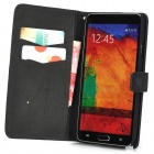 Protective PU Leather Flip Open Case w/ Card Slot for Samsung Galaxy Note 3 / N9000 - Black