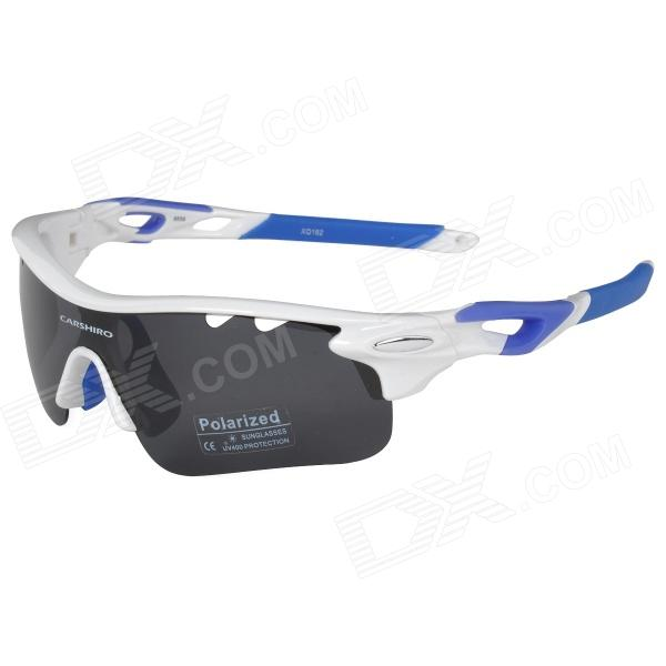CARSHIRO E9559 Outdoor Cycling Polarized UV400 Protection Goggles - White + Blue carshiro 9559 sporty uv400 polarized goggles replacement lenses for cycling