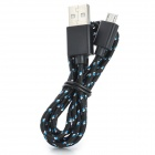 USB to Micro USB Data/Charging Woven Cable for Samsung / HTC + More - Black