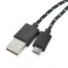 USB to Micro USB Data Charging Woven Cable for Samsung More - Black