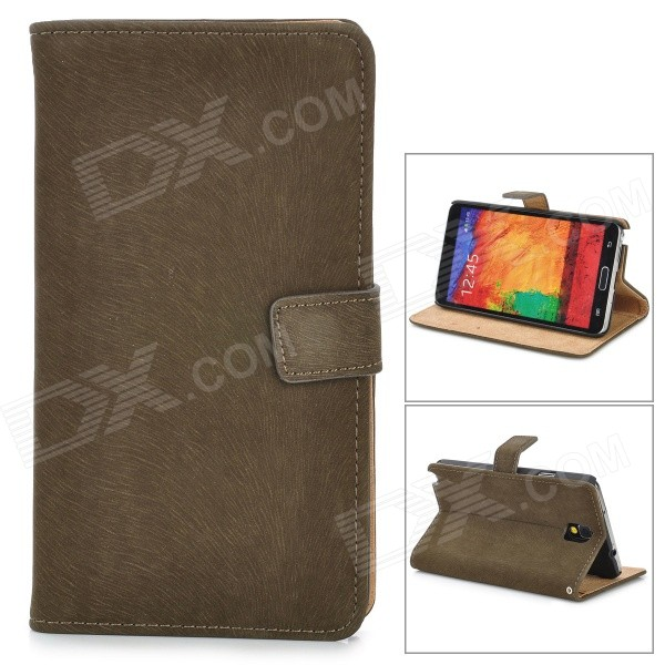 Squirrel Grain Style Protective PU Leather Case for Samsung Galaxy Note 3 N9000 - Dark Brown cool snake skin style protective pu leather case for samsung galaxy s3 i9300 brown
