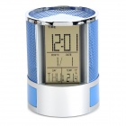 "HC-201A Multi-Function 3"" LCD Alarm Clock / Thermometer / Pen Holder - Silver + Blue (2 x AG13)"