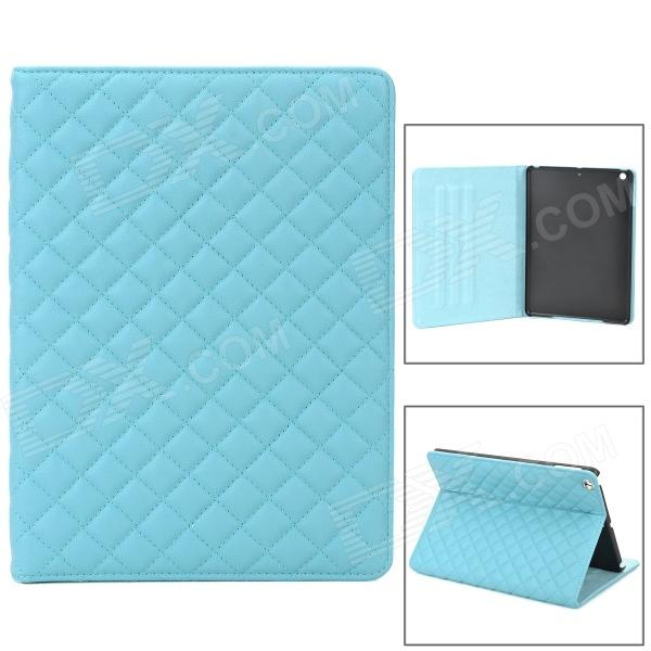 Retro Ling Plaid PU Leather Case w/ Auto Sleep for Ipad AIR - Blue grid pattern protective pu leather plastic case w stand auto sleep for ipad air red