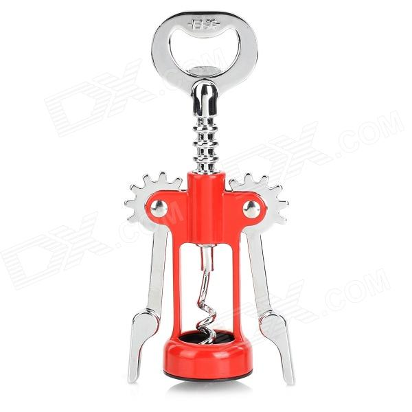 Stainless Steel Thickened Red Wine Bottle Opener Corkscrew - Red + Silver