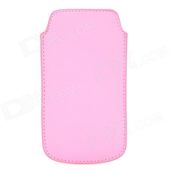 ipS-5 Protective PU Leather Pouch Bag for Iphone 5 / 5s - Pink + Black