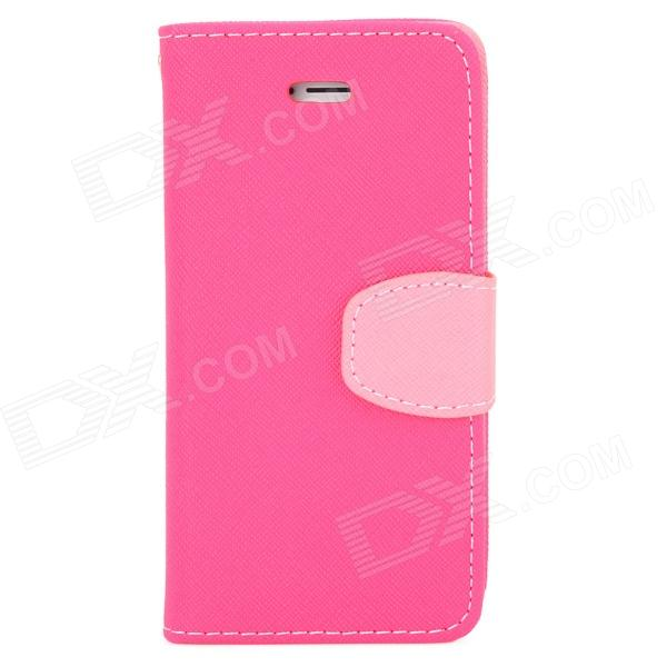 a-338 Protective Flip Open PU Leather Case w/ Stand / Strap for Iphone 5 / Iphone 5S - Deep Pink protective pu case w stand strap for iphone 5 5s black