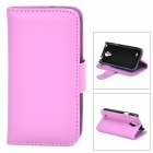 Protective Flip-open PU Leather Holder Case w/ Card Slot for Samsung Galaxy S4 Mini i9190 - Purple