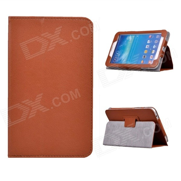 Rotating Lichee Pattern PU Leather Case Cover Stand for Samsung Galaxy Tab 3 7.0 P3200 - Brown rotating lichee pattern pu leather case cover stand for samsung galaxy tab 3 7 0 p3200 sky blue
