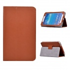 Rotating Lichee Pattern PU Leather Case Cover Stand for Samsung Galaxy Tab 3 7.0 P3200 - Brown