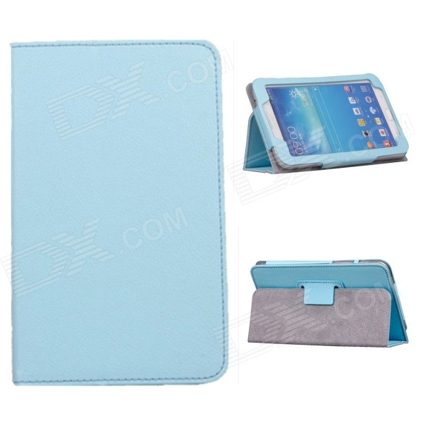 Rotating Lichee Pattern PU Leather Case Cover Stand for Samsung Galaxy Tab 3 7.0 P3200 - Sky Blue