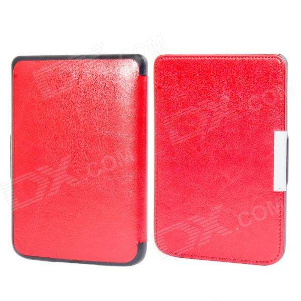 Protective PU Leather Flip Case Cover for POCKETBOOK 515 - Red