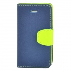 a-336 Fashion Cross Grain PU Leather Case w/ Hand Strap for Iphone 4 / 4S - Green + Sapphire Blue